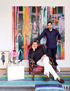 Tour Isaac Mizrahi's Greenwich Village Home {Article} Photo: Mizrahi with his husband, Arnold Germer || Architectural Digest