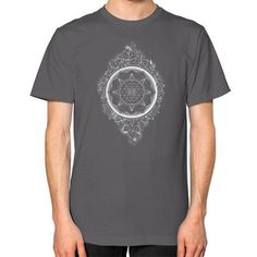 Sacred Geometry Sri Yantra halftone Unisex T-Shirt (on man)