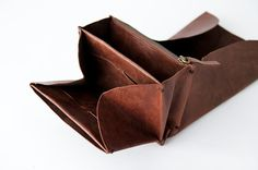origami wallet Small Dark brown vintage leather by SunriseNomad