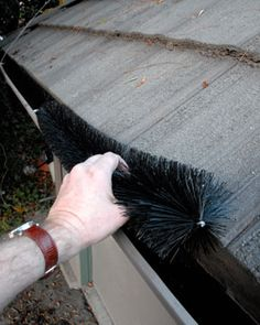 Gutter brushes made of polypropylene are like big baby bottle brushes. These are the least expensive, easiest-to-use gutter guards we have found.  http://www.hometips.com/buying-guides/gutter-guards-fine-mesh.html