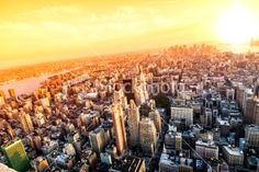 New York City view of lower Manhattan at sunset Royalty Free Stock Photo