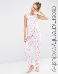 Image 1 of ASOS Maternity Flamingo Pajama Tank and Pants