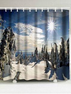 Window Treatments & Hardware 3d Sun Snow Woods 7 Shower Curtain Waterproof Fiber Bathroom Home Windows Toilet