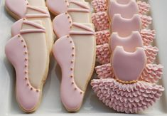 Pink and Gold Ballerina / Ballet Cookies - One Dozen Decorated Sugar Cookies -Tutus and Ballet Slippers by thesweetesttiers on Etsy https://www.etsy.com/listing/215977175/pink-and-gold-ballerina-ballet-cookies