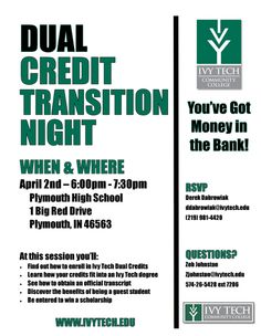 Plymouth High School offers many Dual Credit classes in partnership with Ivy Tech Community College. This Wednesday (April 2nd) Ivy Tech representatives will be here at PHS to answer any questions student or parents may have about dual credit courses.  Plus by just attending students will be entered to win a scholarship!