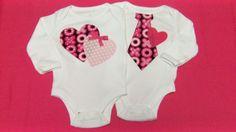 Twins Onesies, Baby Girl Twin Onesie, Baby Boy Twin Necktie Onesie, Heart Onesie, Valentine Onesie, Photo Prop, Baby Shower Gift. $29.95, via Etsy.