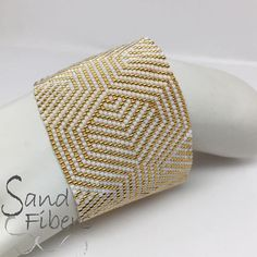 Peyote Pattern Meandering in Gold and White Peyote Cuff /