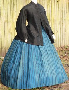 Dress with lightweight silk paletot trimmed with jet nail-heads c.1865