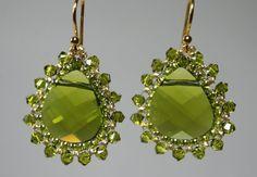 Olivine Green Swarovski tear drop beaded by createdbycarla on Etsy