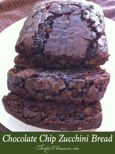 Had I not whipped up this Chocolate Chip Zucchini Bread myself I wouldn't have known there's zucchini in it because of all the chocolate yumminess!