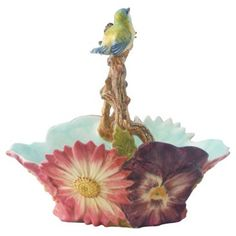 Check out this item at One Kings Lane! Majolica Birds Flowers Basket