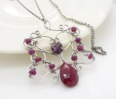 Red ruby necklace, Sterling silver, Wire wrapped jewelry, Handmade Genuine ruby necklace, Ruby jewellery via Etsy