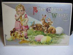 1910's John Winsch embossed vintage easter postcard bunnies chicks little girl holding broken egg