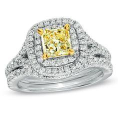 2 CT. T.W. Certified Princess-Cut Yellow Diamond Bridal Set in 18K White Gold