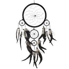 "Dream Catcher ~ Handmade Traditional Black, White & Silver 8"" Diameter 20"" Long!"