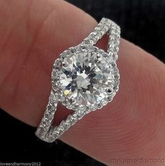 Real 14K solid White gold Round Brilliant cut Halo split shank Engagement Ring