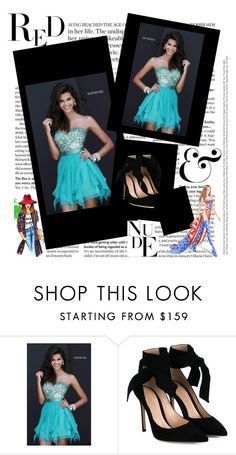 """""""Sherri Hill 1934 Jade Strapless Cocktail Dress"""" by susannelsone ❤ liked on Polyvore featuring Gianvito Rossi and Victoria's Secret"""