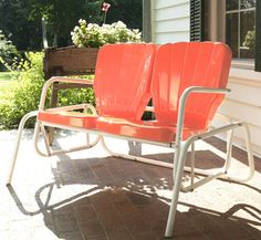 You can buy reproductions of the old patio furniture today.Retro Metal Lawn Furniture Here - Thunderbird Double Glider - For the patio,yard,pool or porch! Patio Chairs, Outdoor Chairs, Outdoor Decor, Outdoor Spaces, Outdoor Living, Patio Furniture Sets, Outdoor Furniture, Furniture Buyers, Retro Furniture