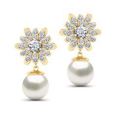 Dahlia Diamond & Pearl Drops Jewellery India Online - CaratLane.com