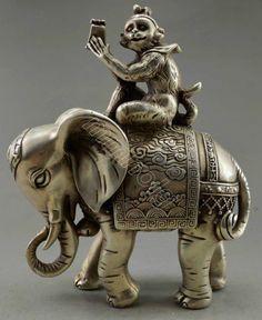 Monkey Elephant Statue
