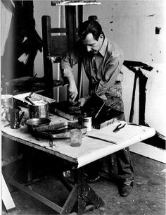 Franz Kline - mixing paint in his studio