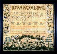 Abigail French's Sampler wrought in the Seventeenth/ year of her age A x d 1822.  The whimsical samplers of the Canterbury, New Hampshire area are easily identified by the rolling hillock bottom band filled with stylized flowers, tiered trees, baskets, birds, and a double-leaf moustache above, all outlined in black creating a very bright and bold effect. These pieces usually contain a large saw-tooth border setting off the text and a large strawberry band separating the alphabets.