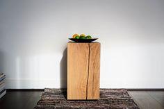 Monolithic Oak Block Side Table, by BANTHORPE + CO. Bedside, Nightstand, Wood Grain, End Tables, Light Colors, Flooring, Storage, Plant, Master Bathroom