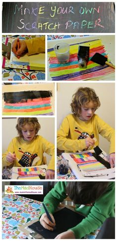 Make your own scratch paper, how to make your own scratch paper with a colourful background and solid top.  A great kids art craft activity from mum in  the mad house