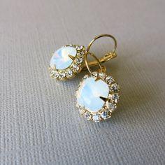 Bridal Earrings Opal Earrings White Opal Gold Plated Earrings - Sparkle Wedding Jewelry