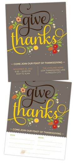 "Free ""Give Thanks"" Thanksgiving Dinner Invitation                                                                                                                                                                                 More"