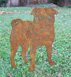 Pug Garden Stake / Pet Memorial / Garden Art by RusticaOrnamentals, $34.99