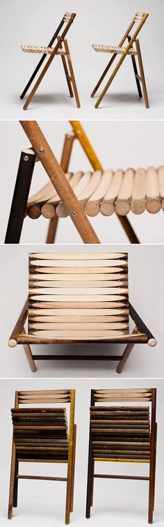 Dutch designer Reinier de Jong has given a new life to the so-called 'trash items', which were once used to clean people's homes and yards. He has designed and created amazing folding chairs dubbed 'STEEL' out of discarded wood handles from old brooms, spade, rakes shovels and/or other tools. STEEL is thus described as a modest chair reflecting the nature of the material it is made from, color and texture that the chair derives depends mainly on the tool and the type of wood used to make it. Wood Chair Design, Furniture Design, Folding Chairs, Wooden Handles, Types Of Wood, Yards, Dutch, Homes, Texture
