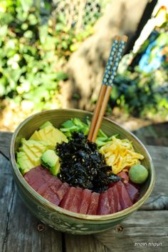 (Chirashi Suahi) צ'יראשי סושי Let Them Talk, Japanese Food, Acai Bowl, Fish, Breakfast, Acai Berry Bowl, Morning Coffee, Morning Breakfast, Ichthys