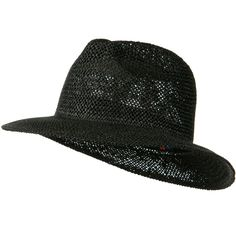 Safari Straw Hat with Pinched Top - Black