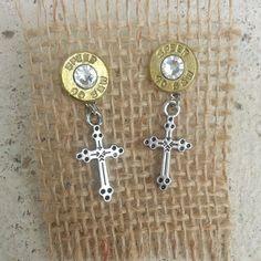 Cross Charm Bullet Earrings Jewelry for the by GunPowder Woman