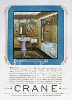 1929 Crane Bathroom Ad - Elegia Lucerne Blue Lavatory Sink, Tub - 1920s Retro Bathroom Design - Wall Paper Mural - Sloane Linoleum Floor Ads