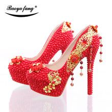 bcf739053263a BaoYaFang New arrival Luxury red pearl beads heel shoes womens wedding shoes  Bride high heels party