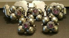 Antique Mexican silver Amethyst Puffed Flower Bracelet Earrings Mexico Purple