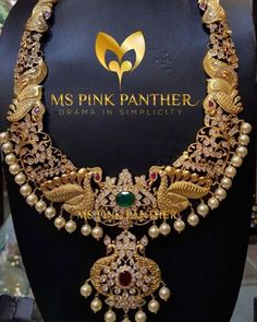 Grand Peacock Haram From Ms Pink Panthers ~ South India Jewels Real Gold Jewelry, Gold Jewelry Simple, Indian Jewellery Design, Jewelry Design, Pink Panthers, Gold Fashion, Necklace Designs, Bridal Jewelry, Bridesmaid Jewelry