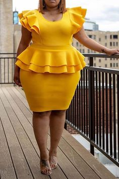 Elegant Ruffles Yellow Plus Size Bodycon Dresses Short African Dresses, Latest African Fashion Dresses, African Print Fashion, Curvy Fashion, Plus Size Fashion, Plus Size Bodycon Dresses, Plus Size Peplum, Dress Outfits, Fashion Outfits