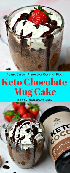 A keto chocolate mug cake recipe that includes almond or coconut flour. I include tips to sub cocoa powder with your favorite chocolate or unflavored keto supplements like MCT Oil Powder or collagen peptides. Keto Chocolate Mug Cake, Keto Mug Cake, Chocolate Mug Cakes, Chocolate Recipes, Chocolate Milkshake, Mint Chocolate, Keto Friendly Desserts, Low Carb Desserts, Low Carb Recipes