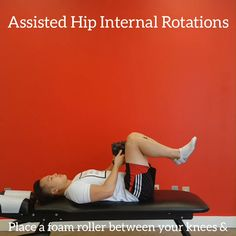 Hip mobility exercise to improve internal rotation using a foam roller. Click the link for more online exercise programs. Couch Workout, Cardio Workout At Home, Hip Workout, Workouts, Hip Mobility Exercises, Stretches, Powerlifting Men, Hip Pain Relief, Stretching Program