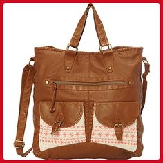 T-shirt & Jeans Washed Double Pocket Tote With Crochet And Embroidery (Cognac) - Totes (*Amazon Partner-Link)