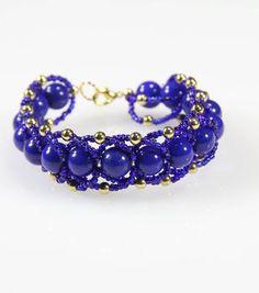 Blue Woven Gold Bracelet