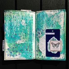 #take5art 🤗Prompts: green/blue, ink, layers, white pen and something recycled. My recycled item is the blue tag, it's from clothing, I always save those. Also my journal is recycled as it's an old book from a secondhand store. 😁..#mixedmedia #artjournaling #journaling #artjournalpage #colorlove #getmessyartjournal #abeautifulmess #createeveryday #creativelifehappylife #oldbooks #creativelife #art #distressink#distressoxide #posca #oldbooks