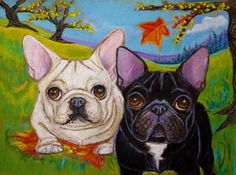 French Bulldogs art painting autumn fall leaves by dogsinpastel, $48.00