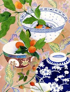 Happy sunday! I hope it´sas lovely, flowery & fruity as these beautiful watercolor paintings by Gabby Malpas. Love the colors, patterns and the little details on the oriental bowls & vases. Gabby is originally from China and was raised in Auckland, Zew Zealand. She studied ceramics at Otago Polytechnic School of Fine Art from 1984 to 1986 and started to focus on watercolor painting in 2003, when she moved to Australia. On her website you will find many more. Enjoy! Selling on: Etsy  [Back…