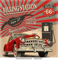 Filling station retro poster - stock vector