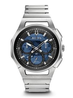 5dac1aff0 Men's Bulova Curv Chronograph Watch with Blue Skeleton Dial (Model: