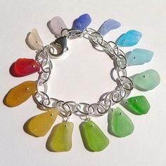 Rainbow Sea Glass Bracelet by SeaGlassbyEcstasea on Etsy, $103.00
